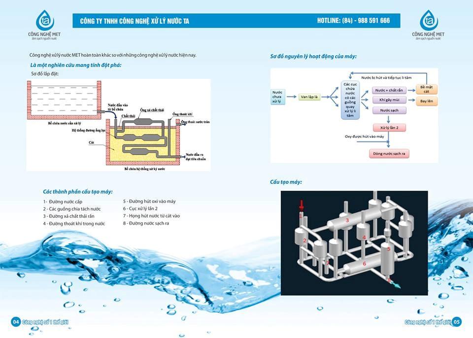 Sơ đồ dây chuyền công nghệ xử lý nước cấp với công nghệ xử lý MET