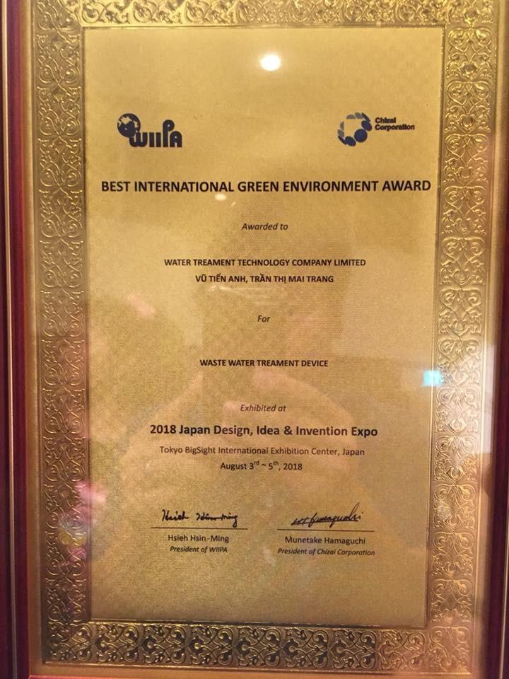 Công nghệ xử lý nước thải Met đạt giải vàng quốc tế tại cuộc thi 2018 Japan Design, Idea & Invention Expo