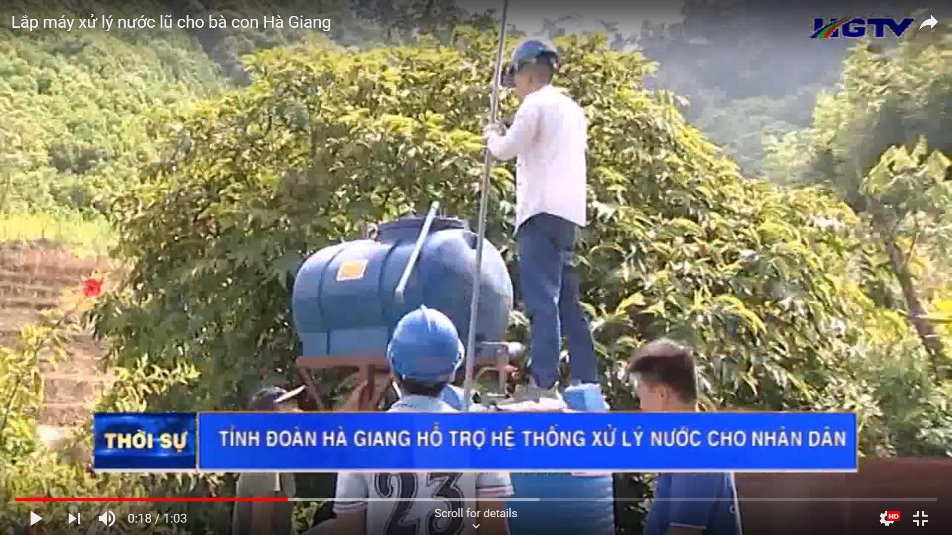 Lắp máy xử lý nước lũ cho bà con Hà Giang