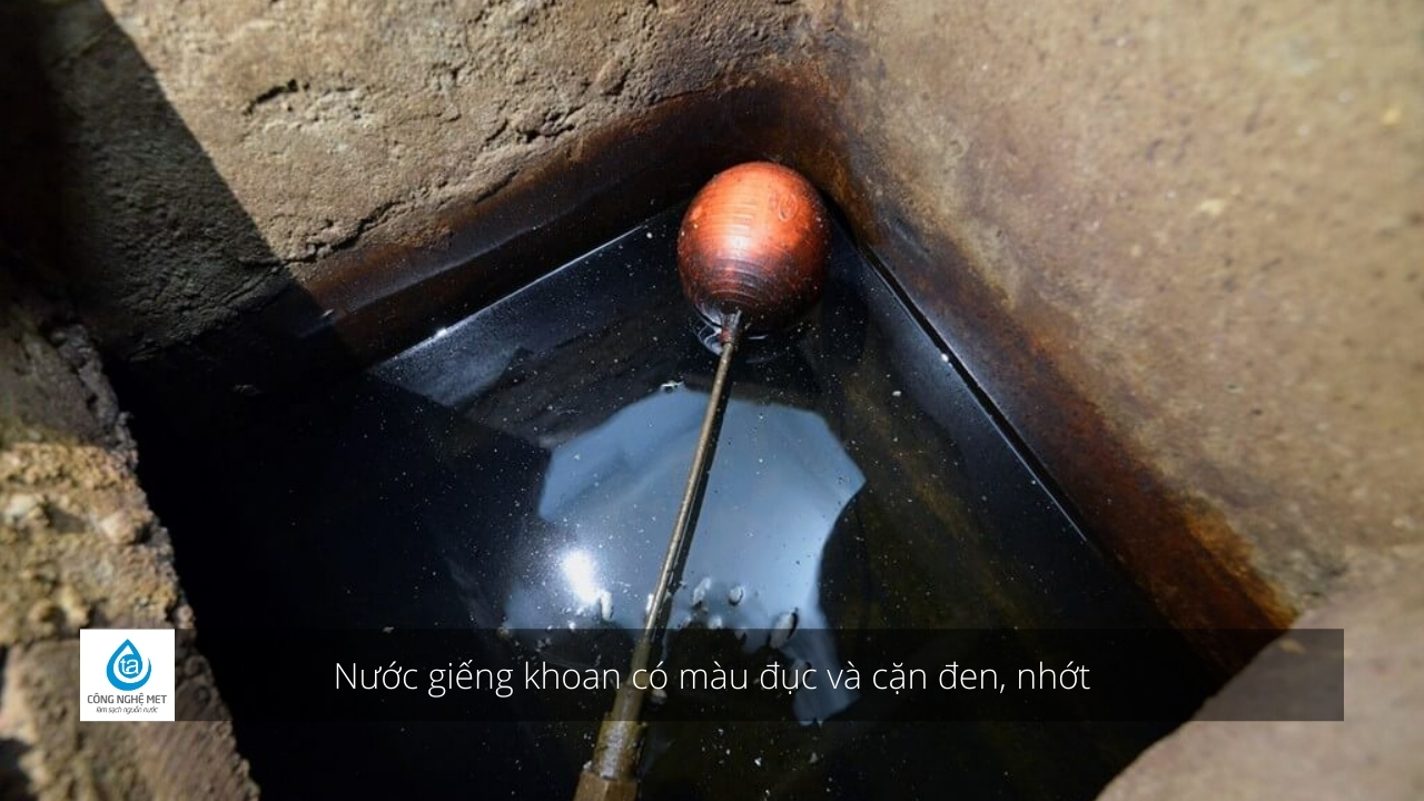 Drilled well water is cloudy in color and has black, viscous sediment